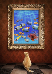 Cat looking at a portrait of a udewater picture  in a golden fra