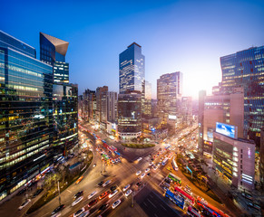 Photo sur cadre textile Seoul Gangnam business district in Seoul Korea