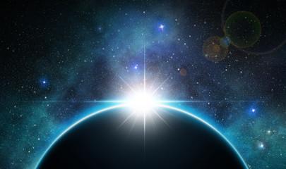 sunbeam over planet