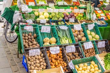 Fresh Vegetables on Sale on a Market Stall in Edinburgh