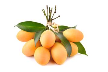 Closeup sweet Marian plum thai fruit isolated on white backgroun