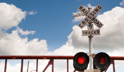 Train Passing Railroad Crossing Warning Lights Flashing