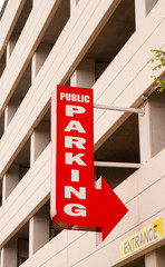 Downtown Parking Garage Red Arrow Sign Points to Park