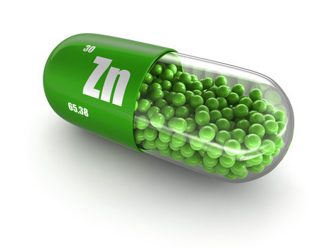 Vitamin capsule Zn (clipping path included).