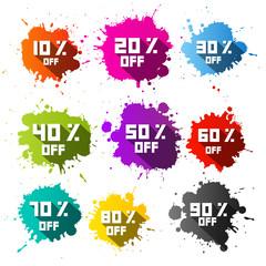 Colorful Vector Discount Sale Blots - Splashes Set