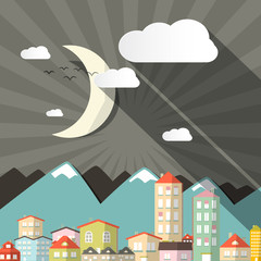 Vector Night Landscape Town or City