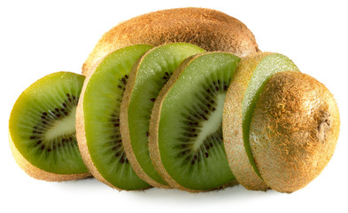 kiwi slices isolated on a white background