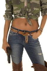 woman camo shirt belly showing gun body