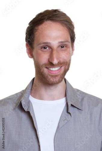 Bewerbungsfoto Eines Modernen Jungen Mannes Mit Bart Stockfotos Und