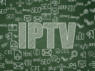 Web design concept: IPTV on School Board background