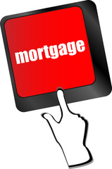Keyboard with single button showing the word mortgage vector