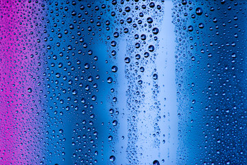 water drops on pink and blue background
