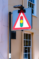 Traffic lights ahead sign isolated