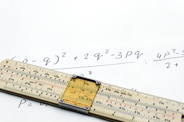 Slide rule and the formula for calculating
