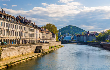 Photo on textile frame City on the water View of Besancon over the Doubs River - France