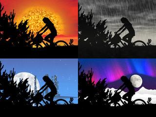 Set of bicycle night rider