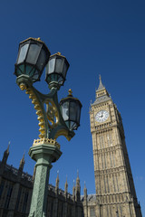 Big Ben and Westminster Palace London Blue Sky Vertical