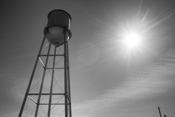 Small Town Water Tower Utilitiy Infrastructure Storage Reservoir
