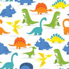 Happy Cartoon Dinosaur Seamless Pattern Background