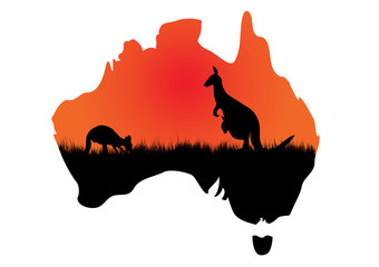 Australian map with kangaaroo