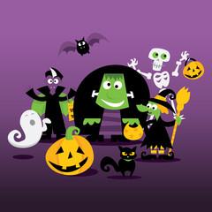 Halloween Monsters Family Portrait