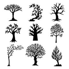 Stylized Tree Silhouette Set