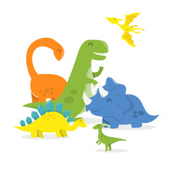 Happy Cartoon Dinosaur Family