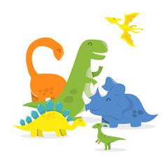 Happy Cartoon Dinosaur Family