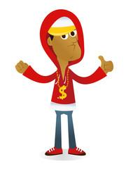 Cartoon Black Gangster Rapper