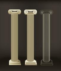 Roman Column Illustrated In Different Styles