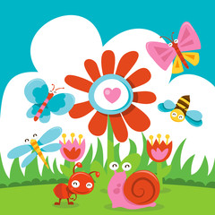 Happy Sweet Garden Bugs Scene
