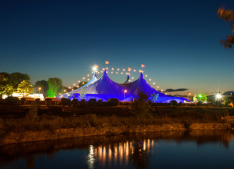 """""""Big Top"""" and Galway Cathedral during Art Festival."""