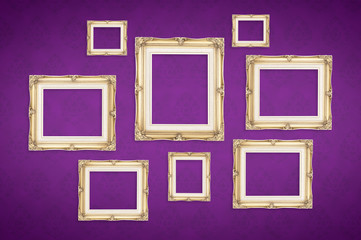 Vintage photo frames with Thai pattern at purple background,Temp