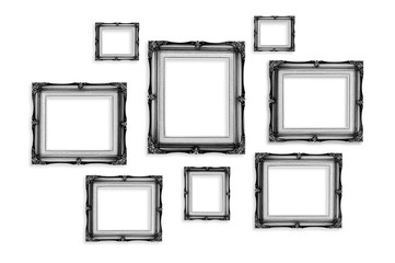 Black Vintage photo frames isolated on white background,Template