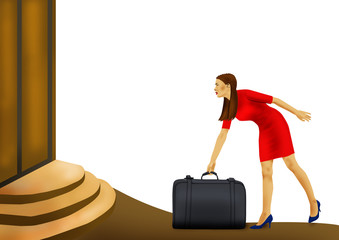 traveling woman with case on white background