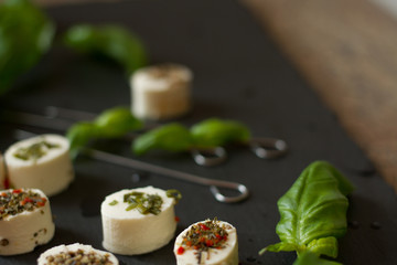 soft goat cheese with basil