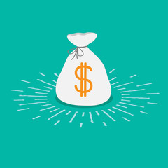 Shining money bag icon. Dollar sign. Flat design