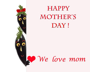 Greeting card for mom with cute eggplants