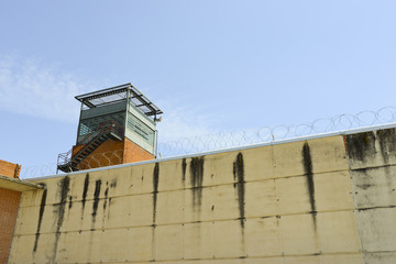 Prison tower and wall