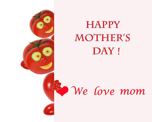 Greeting card for mom with cute tomatos