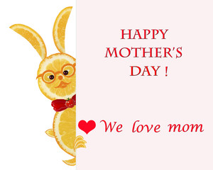 Greeting card for mom with cute animals, made of vegetable  and