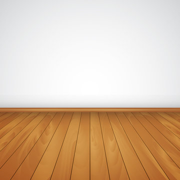 realistic wood floor and white wall  vector illustration
