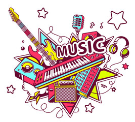 Vector illustration of colored set of musical instruments on a l