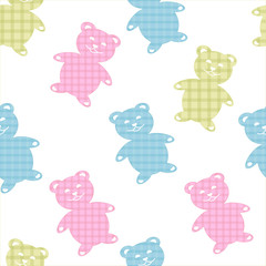 Seamless pattern with teddies.