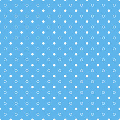 Blue seamless pattern with white circles and dots