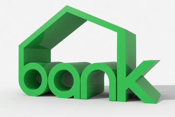 """Logo 3D """"bank"""" con forma edificio"""