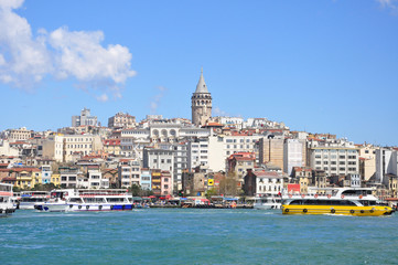 View of galata district and Glata Tower, Istanbul, Turkey