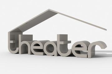 "Logo 3D ""theater"" con forma edificio"
