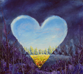 Heart, spring heart on canvas. Open heart. Knife art.