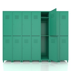 green empty lockers isolate on white background